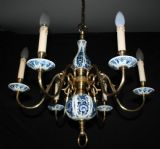 VINTAGE FLEMISH  CHANDELIER BLUE & WHITE 6 arm CEILING LIGHT Ref: AAG9